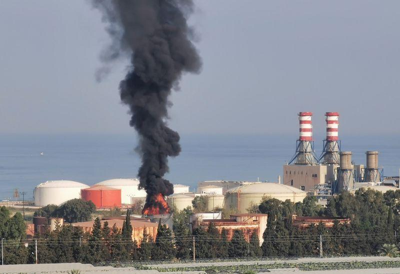 Firefighters battle blaze at southern Lebanon fuel storage tank