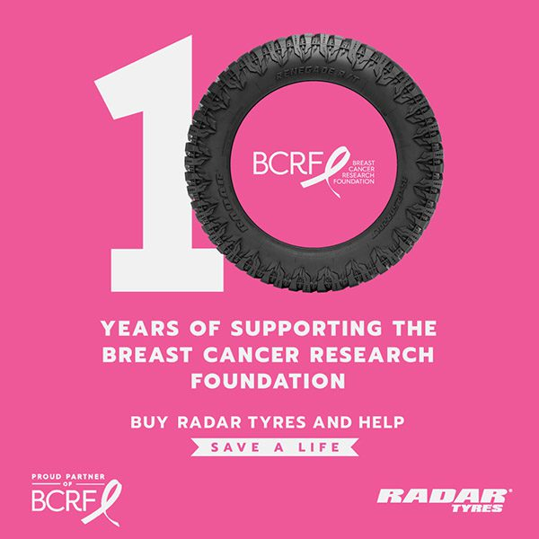 Radar Tyres Reach 10-Year Milestone Of Supporting The Breast Cancer Research Foundation